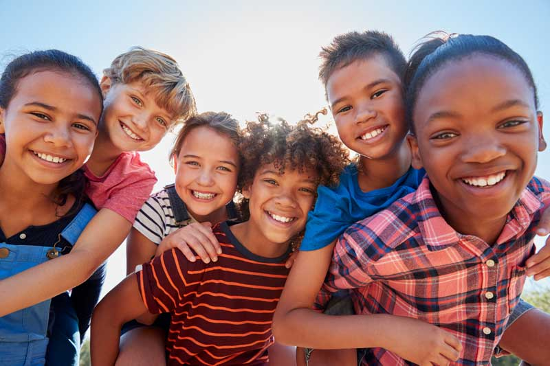 group of children smiling.