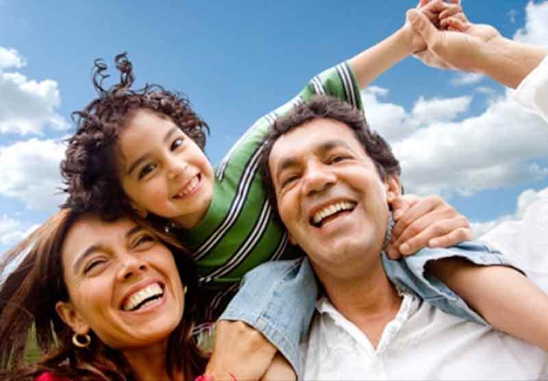 Family smiling.